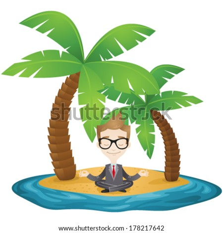 Vector illustration of a meditating cartoon businessman sitting on the beach of a tropical island. - stock vector