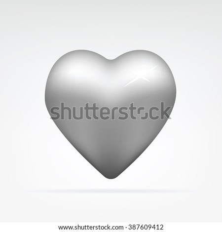 vector illustration of a metal heart - stock vector