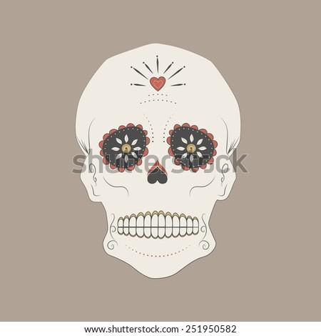 Vector illustration of a mexican skull, Day of the dead sugar skull. - stock vector