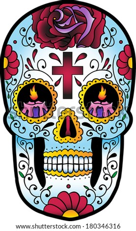 Vector illustration of a mexican skull with flowers and candles in his eyes. - stock vector