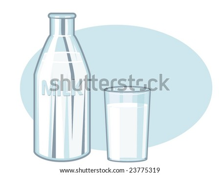 vector illustration of a milk bottle and a glass of milk - stock vector