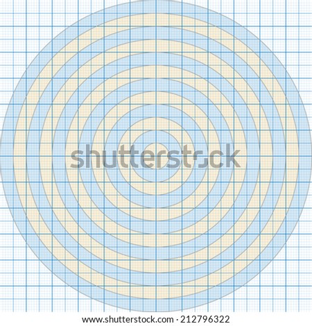 Vector illustration of a millimeter paper with circles one - stock vector