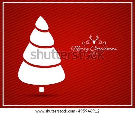 Vector Illustration of a Modern Christmas Greeting Card with Abstract Christmas Tree