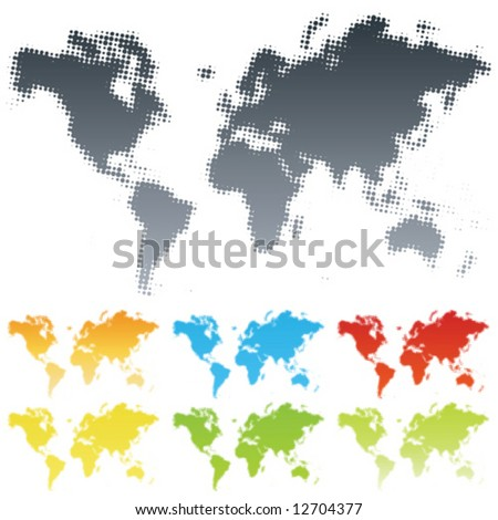 Vector illustration of a modern popular halftone design made from the map of the world. Different color versions. - stock vector