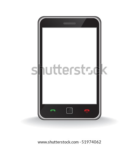 Vector - Illustration of a modern smart phone for mobile communication with white screen for text insertion - stock vector