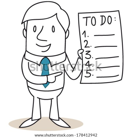 Vector illustration of a monochrome cartoon character: Businessman holding and pointing at to-do list. - stock vector