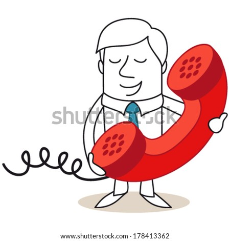 Vector illustration of a monochrome cartoon character: Businessman speaking into huge red telephone receiver. - stock vector