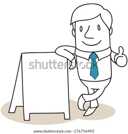 Vector illustration of a monochrome cartoon character: Friendly businessman leaning against blank billboard giving the thumbs up (JPEG version also available). - stock vector