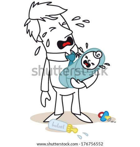 Vector illustration of a monochrome cartoon character: Frustrated father and his baby both crying (JPEG version also available). - stock vector