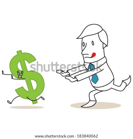 Vector illustration of a monochrome cartoon character: Greedy businessman chasing after dollar sign. - stock vector