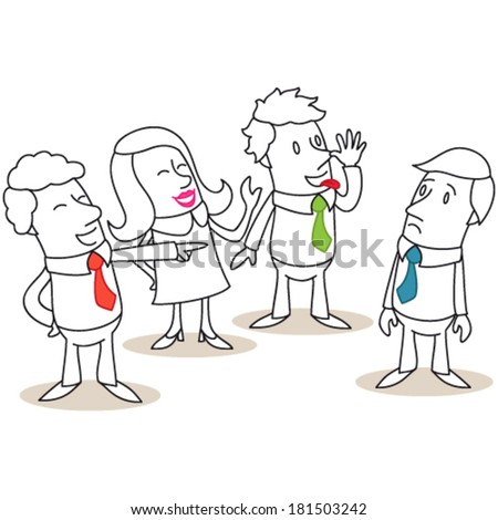Vector illustration of a monochrome cartoon character: Group of business people mocking and bullying colleague. - stock vector