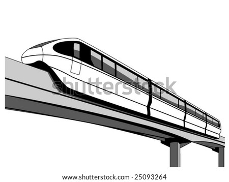 vector illustration of a monorail - stock vector