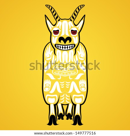 Vector illustration of a mountain goat, one of Canadian animals. Modern stylization of North American native art in traditional colors - stock vector