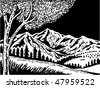 vector illustration of a Mountain scene with tree in foreground done in black and white - stock vector