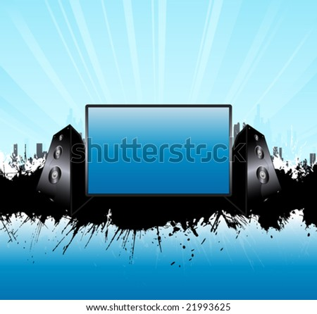 Vector illustration of a music speakers urban splatter background with glowing skyline and central monitor board for custom elements. - stock vector