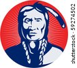 vector  illustration of a native american indian chief facing front view. - stock vector