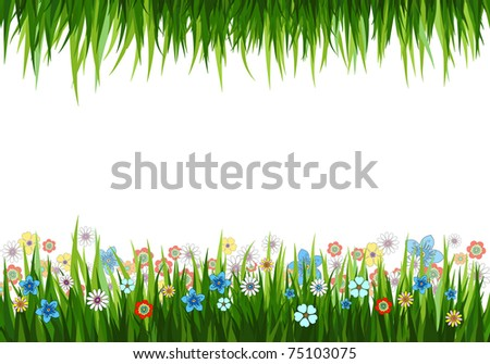 Vector illustration of a nature background with grass and flowers - stock vector