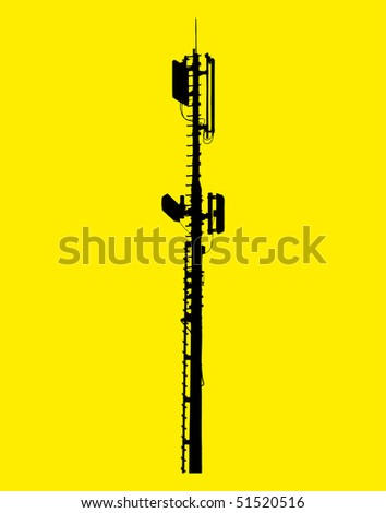vector illustration of a network broadcasting antenna - stock vector