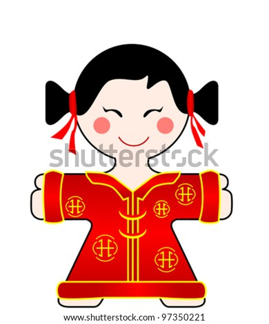 vector illustration of a nice china girl