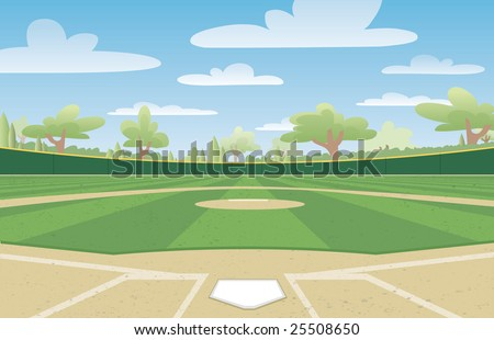 Vector illustration of a nicely groomed baseball field ready for the big game. - stock vector