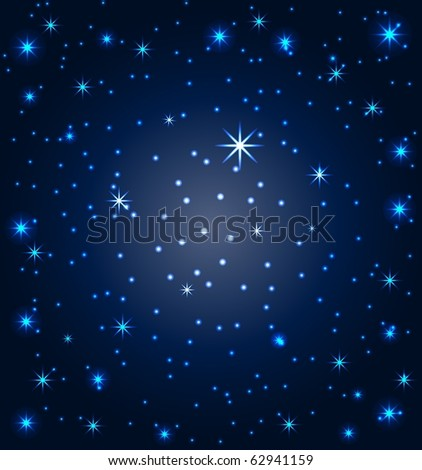 vector illustration of a night sky with stars - stock vector