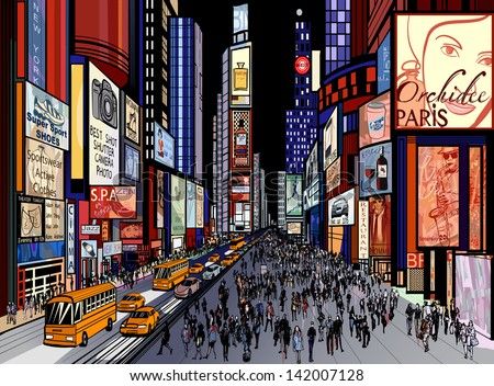 Vector Illustration Night View Times Square Stock Vector ...