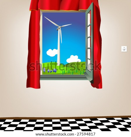 Vector illustration of a open window showing green energy - stock vector