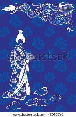 Vector illustration of a oriental dragon and a geisha - stock vector