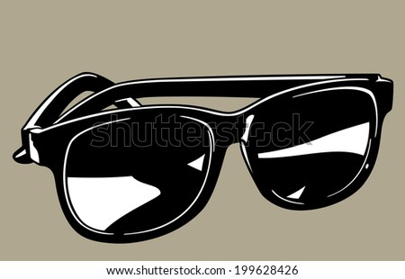 Vector illustration of a pair of black plastic sunglasses for use as a graphic element. - stock vector