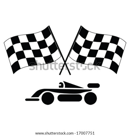 Vector illustration of a pair of checkered flags and racing car. For jpeg version, please see my portfolio.