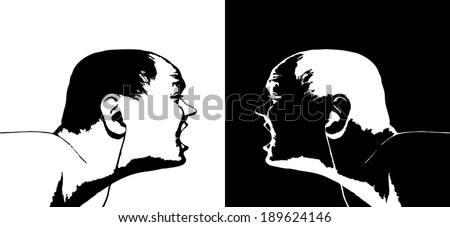 Vector illustration of a pair of young boy with earphones.  - stock vector