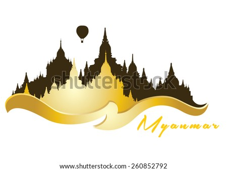 vector illustration of a panoramic view of Bagan in Myanmar - stock vector