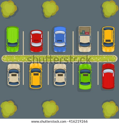vector illustration of a parking lot with cars and trucks, top view perspective.