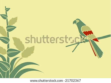 Vector Illustration of a parrot on a branch on a green background - stock vector