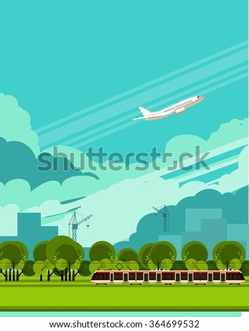 vector illustration of a passenger train outdoors in the sky among the clouds flying plane - stock vector