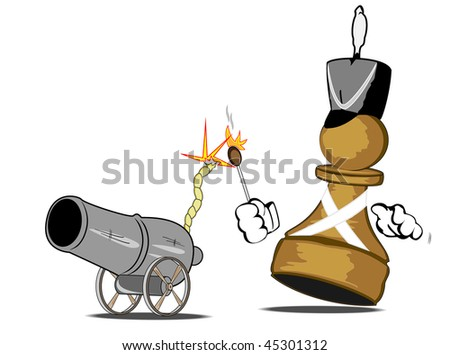 vector illustration of a pawn the gunner - stock vector