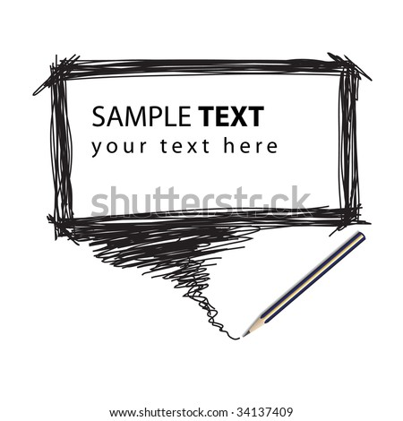 Vector - Illustration of a pencil with a word bubble for text insertion - stock vector