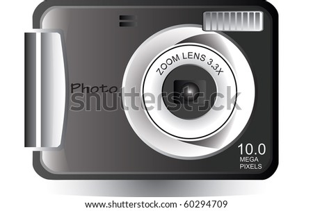 Vector illustration of a photo camera isolated on white - stock vector
