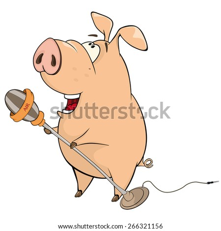 vector illustration of a pig-musician cartoon