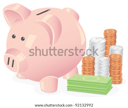 Vector Illustration of a piggy bank on a white background,next to several stacks of coins and dollar bills. - stock vector