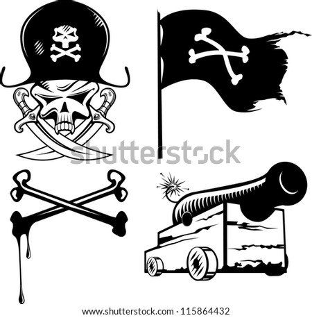 Vector illustration of a pirate set - stock vector