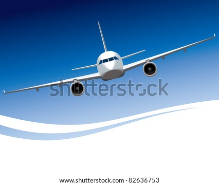 Vector illustration of a plane in front