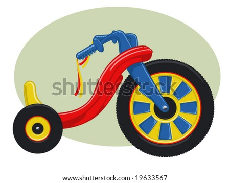 vector illustration of a plastic child's tricycle.. - stock vector