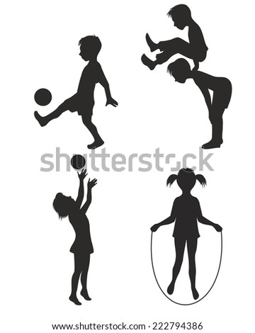 Vector illustration of a playing children silhouette - stock vector