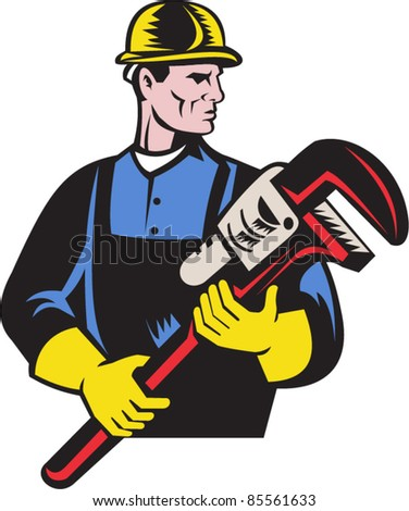 vector illustration of a plumber repairman holding monkey wrench on isolated white background