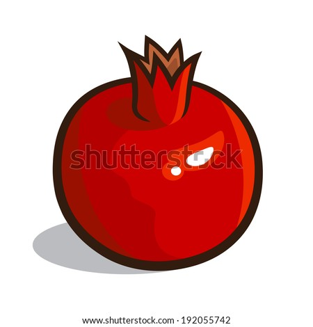 Vector illustration of a pomegranate isolated on a white background - stock vector