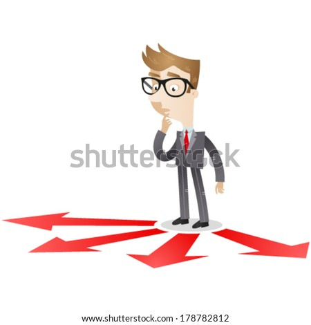 Vector illustration of a pondering cartoon businessman looking at red arrows on the floor which point in different directions. - stock vector