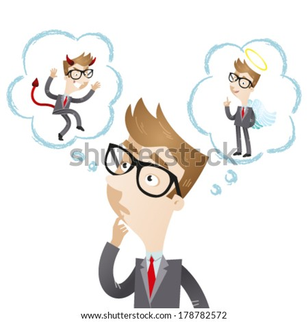 Vector illustration of a pondering cartoon businessman with thought bubbles showing devil and angel. - stock vector