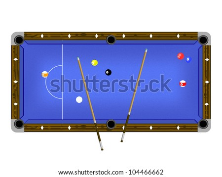 Vector Illustration of a pool table with cues and pool balls isolated on white - stock vector