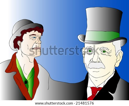 vector illustration of a poor laid off union worker and a rich CEO